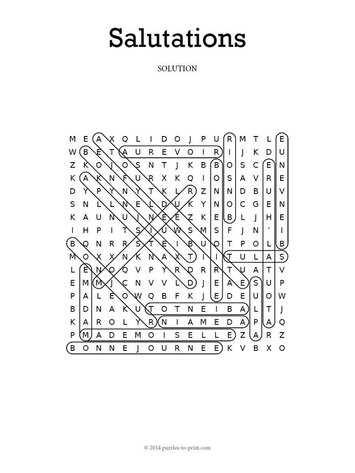 French Salutations Word Search