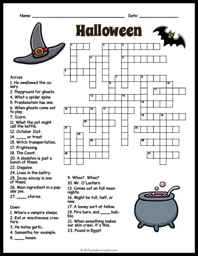 Halloween Crossword Puzzle Pictures to Pin on Pinterest