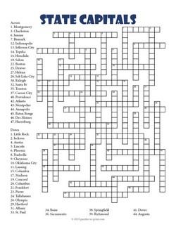 State Capitals Crossword