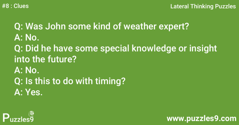 #8 Clues - John knows everything about weather : Lateral thinking riddles
