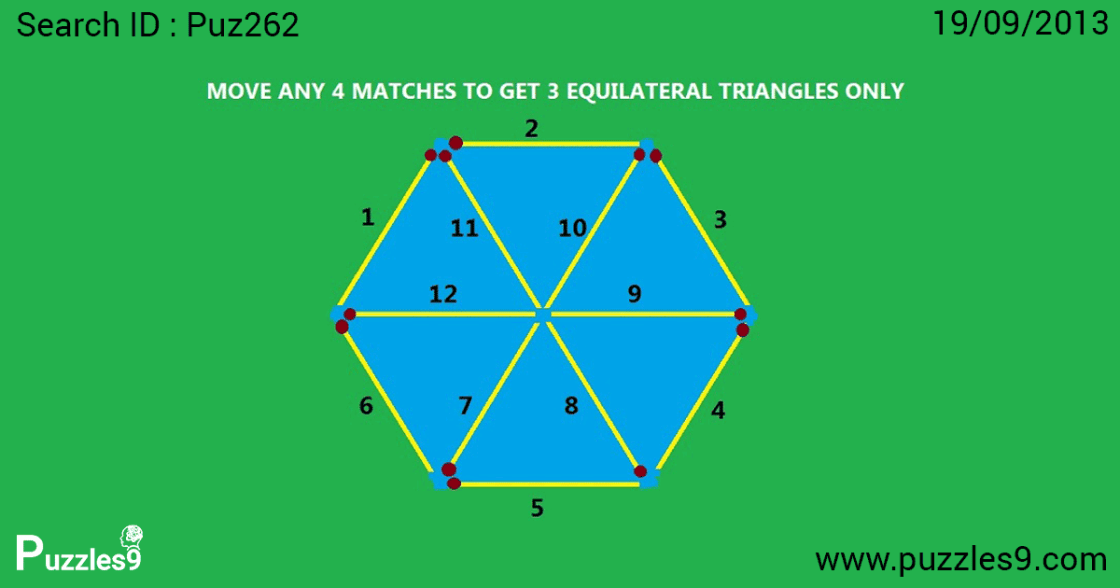 move 4 matches to get 3 equilateral triangles in this picture puzzles : maths logic puzzles | puz262