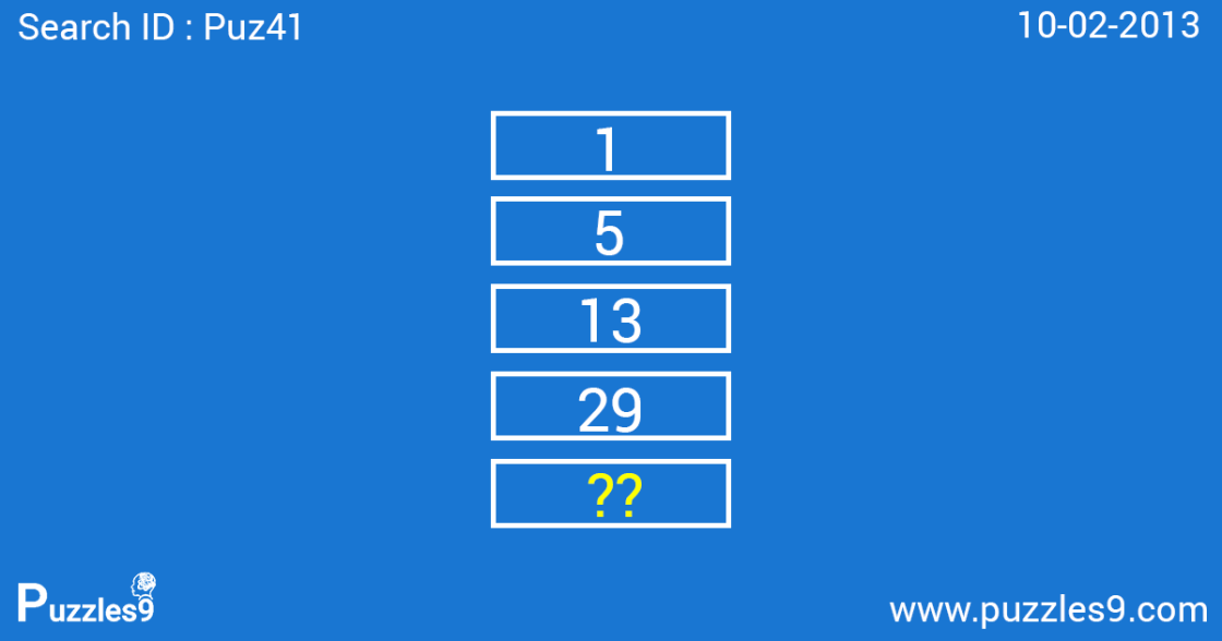 number sequence puzzle with answer | puz41 - 10 feb 2013