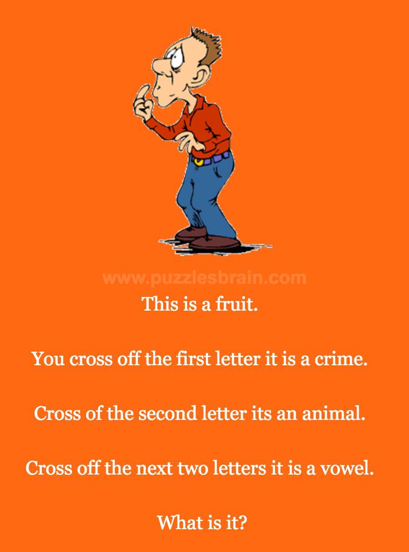 Fruit Crime Animal Vowel Riddle - Brain Puzzles
