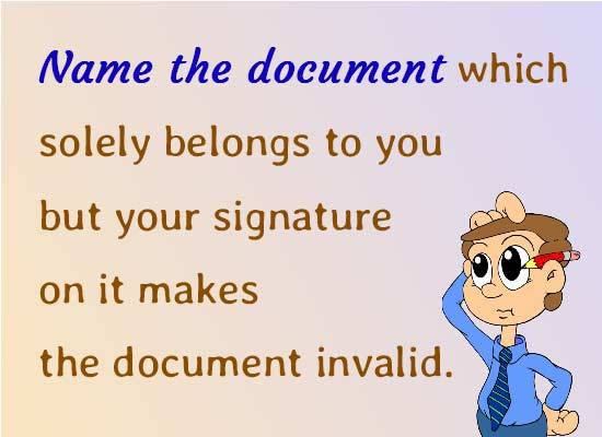 Name the document which solely belongs to you