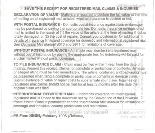 Registered Mail Form 3806
