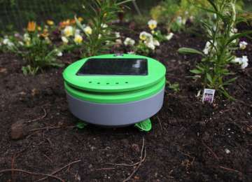 This solar-powered robot pulls the weeds out of your garden
