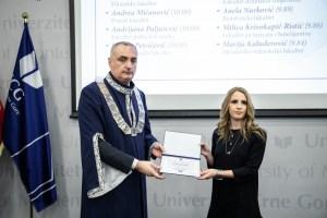 Lejla Kordić NAJBOLJA studentkinja Fakulteta za sport i fizičko vaspitanje UCG na smjeru Sportski novinari i treneri
