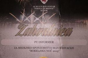 """ZAHVALNICA za medijsko sponzorstvo manifestacije """"Bokeljska noć 2029"""""""
