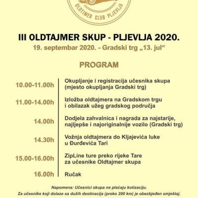 """III OLDTAJMER SKUP 19. septembra na Trgu """"13. jul"""""""