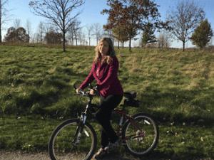Heidi on bike