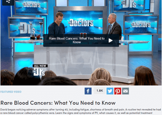 PV Reporter creates MPN Awareness on the Doctors TV Show