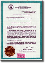 PWAG Certificate of Incorporation issued by SEC