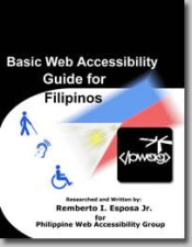 Book cover page with Philippine flag, PWAG logo, disability symbols in black background.