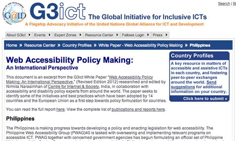Screenshot of G3ICT Website
