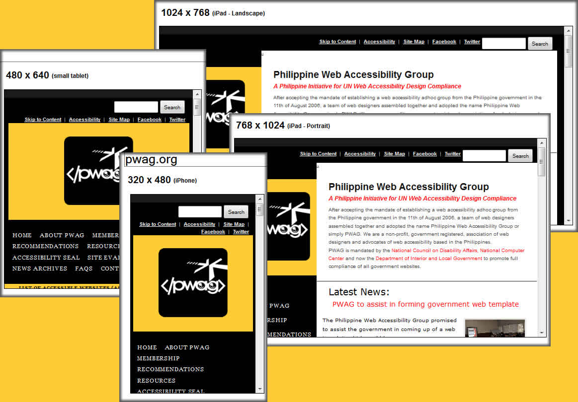 Screenshot of PWAG website in various devices