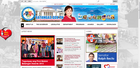 Screenshot of Batangas Provincial Official Website