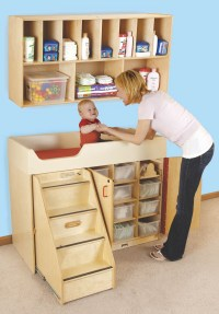 Wood Changing Table with Stairs & Diaper Organizer - Play ...