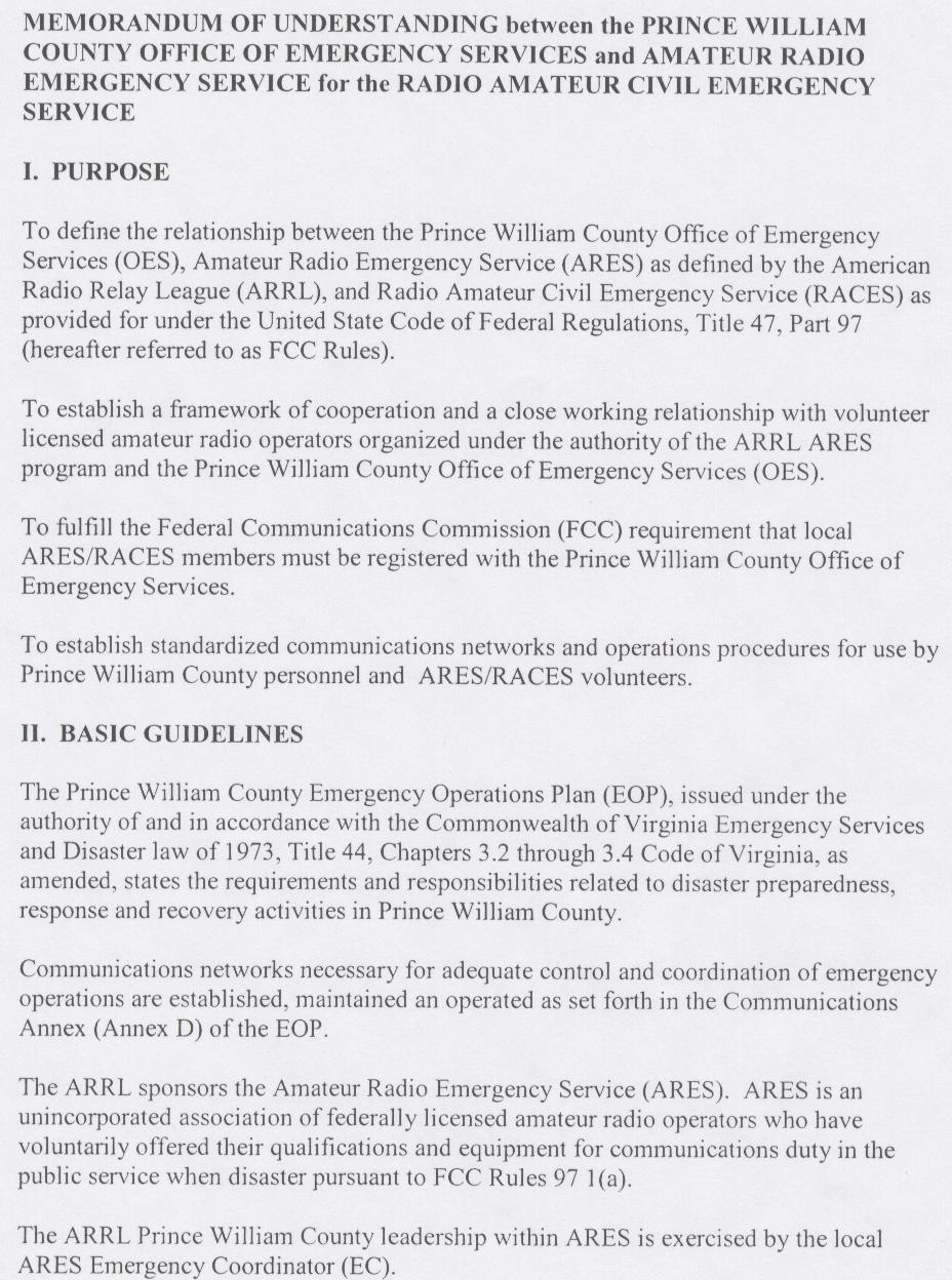 Memorandum Of Understanding Between Prince William County And Ares