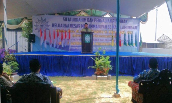 Ketua PP Muhammadiyah Hajriyanto Y. Thohari dalam Silaturrahin dan Pengajian Pimpinan Keluarga Besar Muhammadiyah se-Kabupaten Lamongan