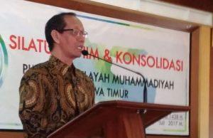 Nur Cholis Huda saat memberi iftitah di acara Silaturrahim dan Konsolidisai Muhammadiyah Jatim