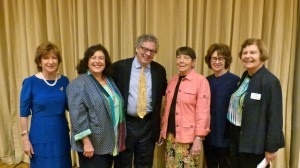 FOL President Amy Bass, program moderator Susan Isaacs, author Kevin Baker, FOL Vice President Nancy Wright, author Delia Ephron and FOL Vice President Ellen Zimmerman.