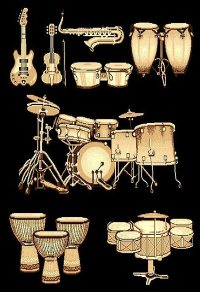 Guitars Drum Set Rug Living Room Carpet 5 X 8 Musical ...