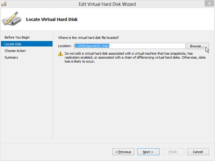 Edit Virtual Hard Disk Wizard - Locate Disk