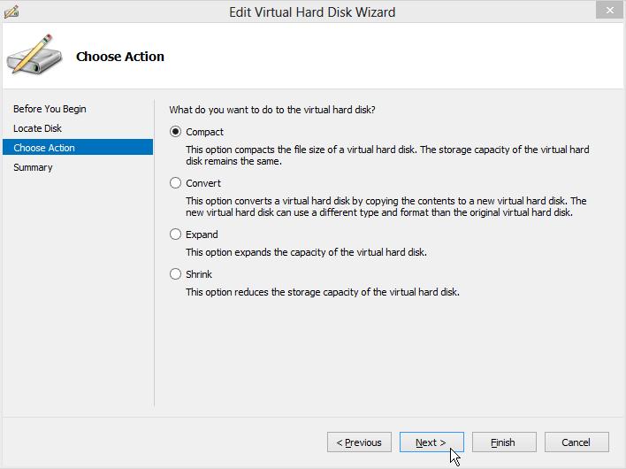 Edit Virtual Hard Disk WIzard - Choose Action