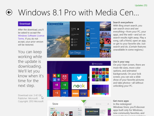 Download Windows 8.1 from Windows Store