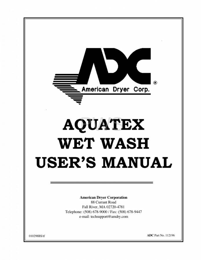 Diagrams, Parts and Manuals for American Dryer AQUATEX Dryer