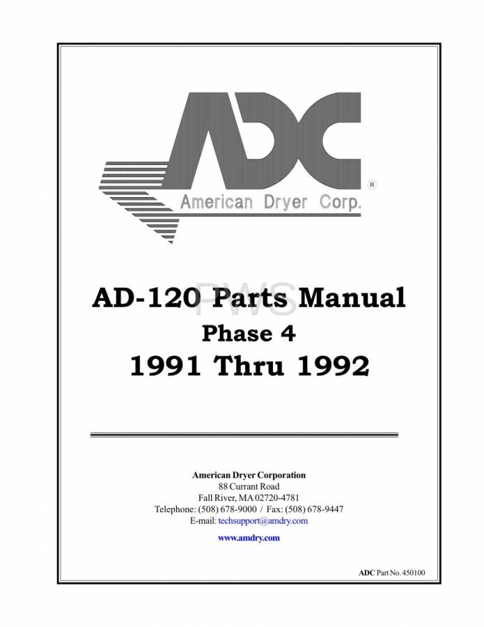 Diagrams, Parts and Manuals for American Dryer AD-120 Dryer