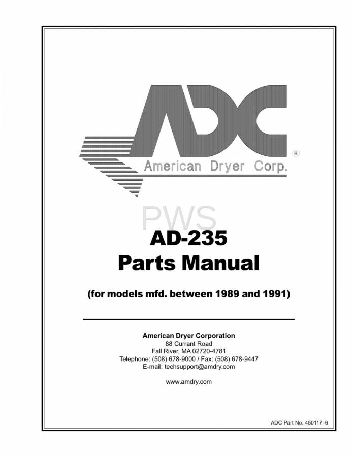 Diagrams, Parts and Manuals for American Dryer AD-235 Dryer
