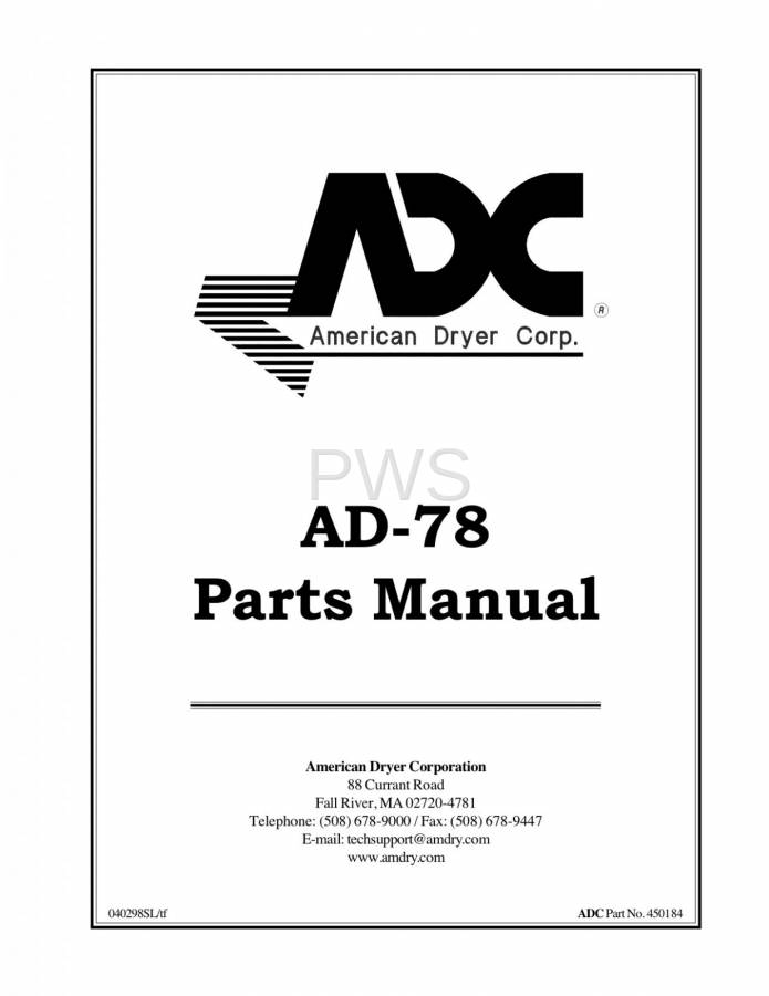 Diagrams, Parts and Manuals for American Dryer AD-78 Dryer