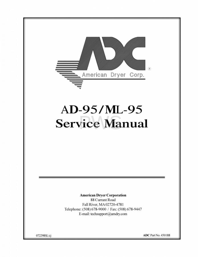 Diagrams, Parts and Manuals for American Dryer AD-95 Dryer