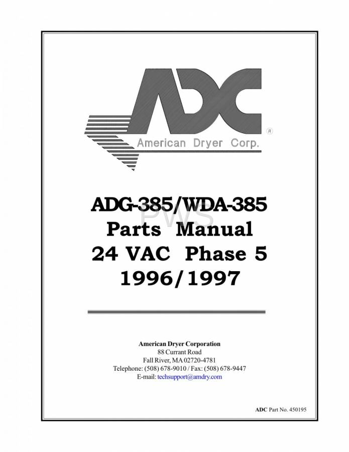 Diagrams, Parts and Manuals for American Dryer WDA-385 Dryer