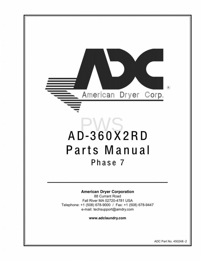 Diagrams, Parts and Manuals for American Dryer AD-360X2RD