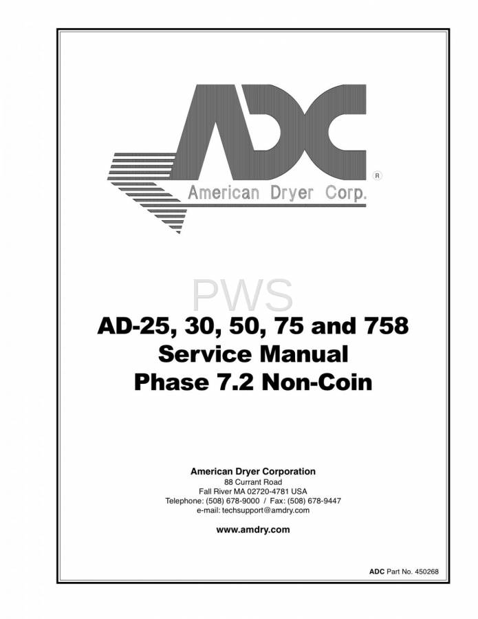Diagrams, Parts and Manuals for American Dryer AD-758 Dryer