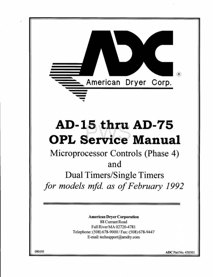 Diagrams, Parts and Manuals for American Dryer AD-36 Dryer