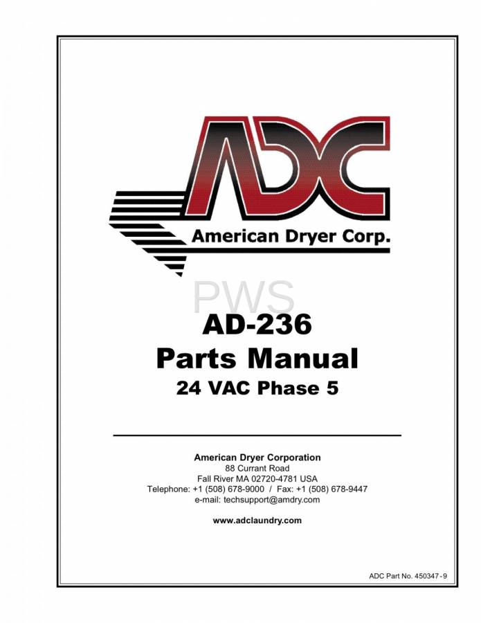 Diagrams, Parts and Manuals for American Dryer AD-236 Dryer