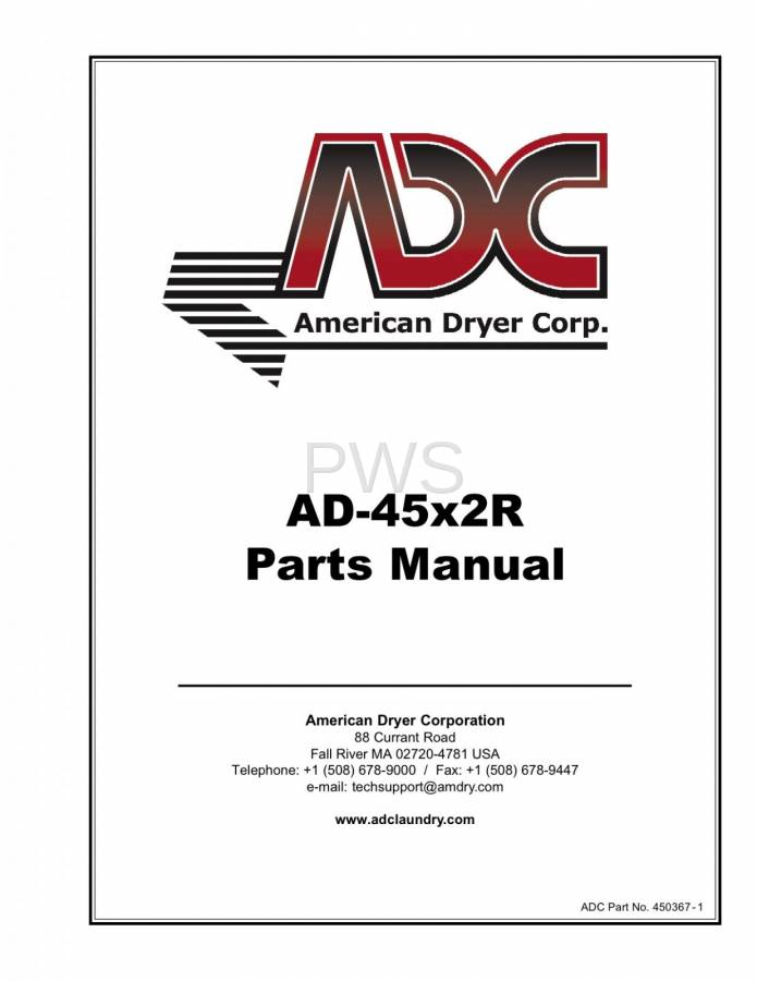 Diagrams, Parts and Manuals for American Dryer AD-45x2 Dryer