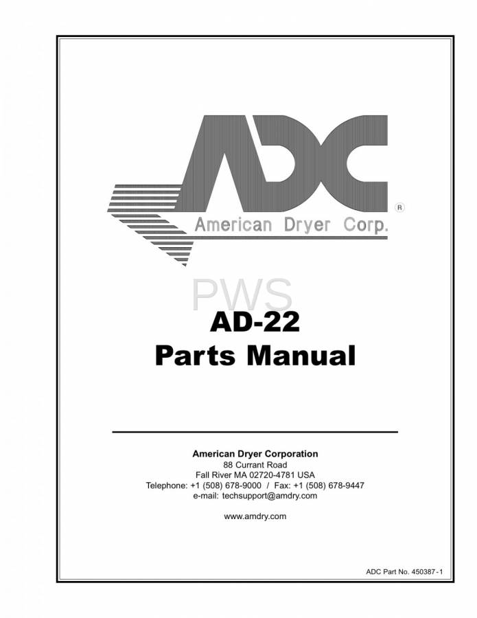 Diagrams, Parts and Manuals for American Dryer AD-22 Dryer