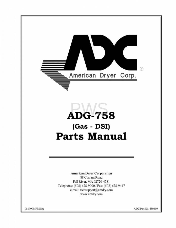 Diagrams, Parts and Manuals for American Dryer ADG-758 Dryer