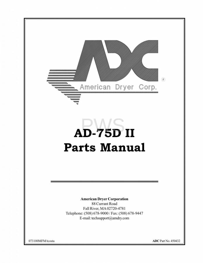 Diagrams, Parts and Manuals for American Dryer AD-75D Dryer