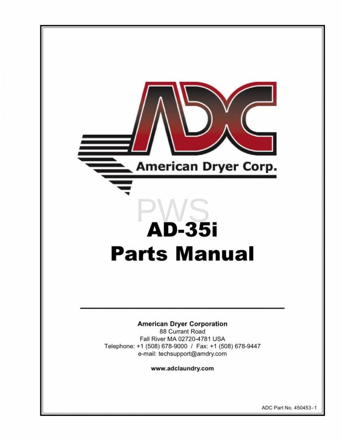 Diagrams, Parts and Manuals for American Dryer AD-35i Dryer