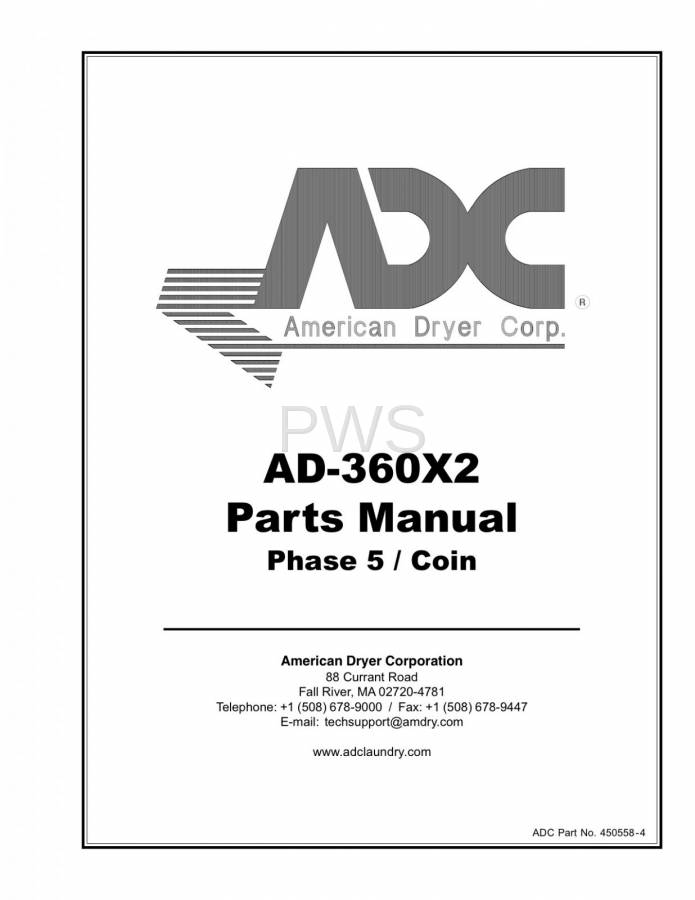 Diagrams, Parts and Manuals for American Dryer AD-360X2 Dryer