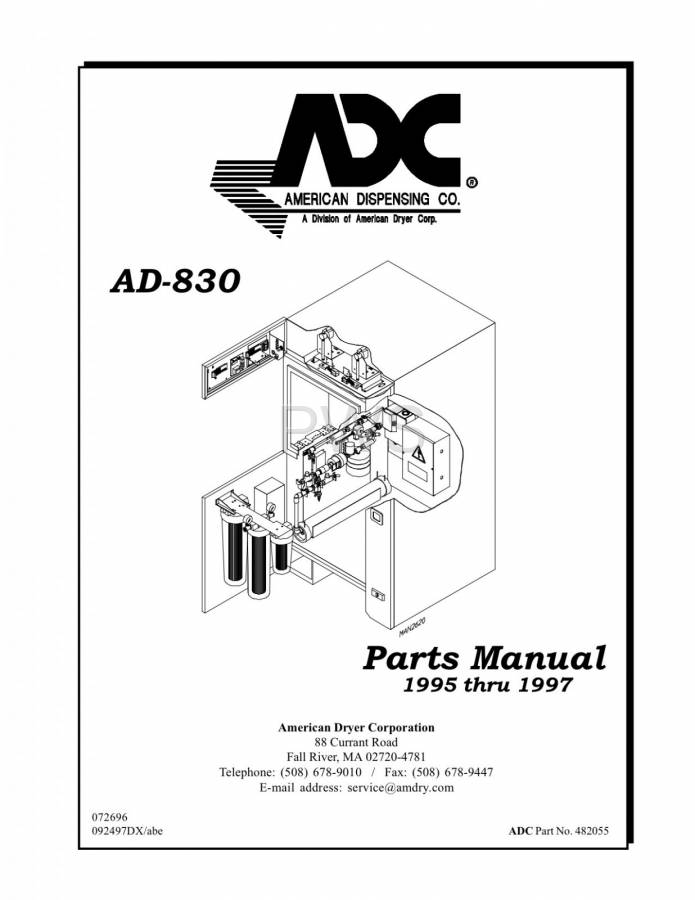 Diagrams, Parts and Manuals for American Dryer AD-830 Dryer