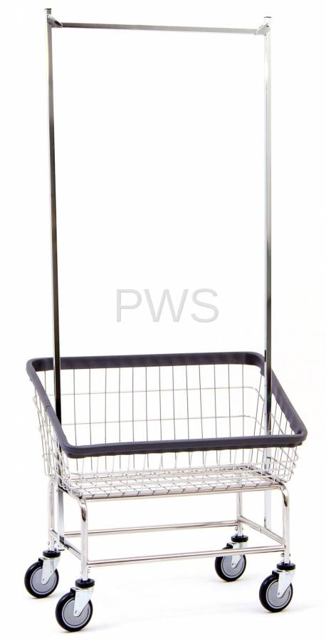 R&B Large Capacity Front Load Laundry Cart/Chrome Basket w