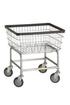 R&B Rolling Narrow Laundry Cart/Chrome Basket P/N 100D