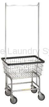 R&B Rolling Narrow Laundry Cart/Chrome Basket P/N 100D58