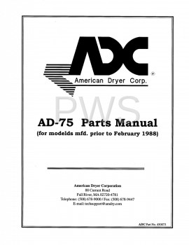 Diagrams, Parts and Manuals for American Dryer AD-75 Dryer